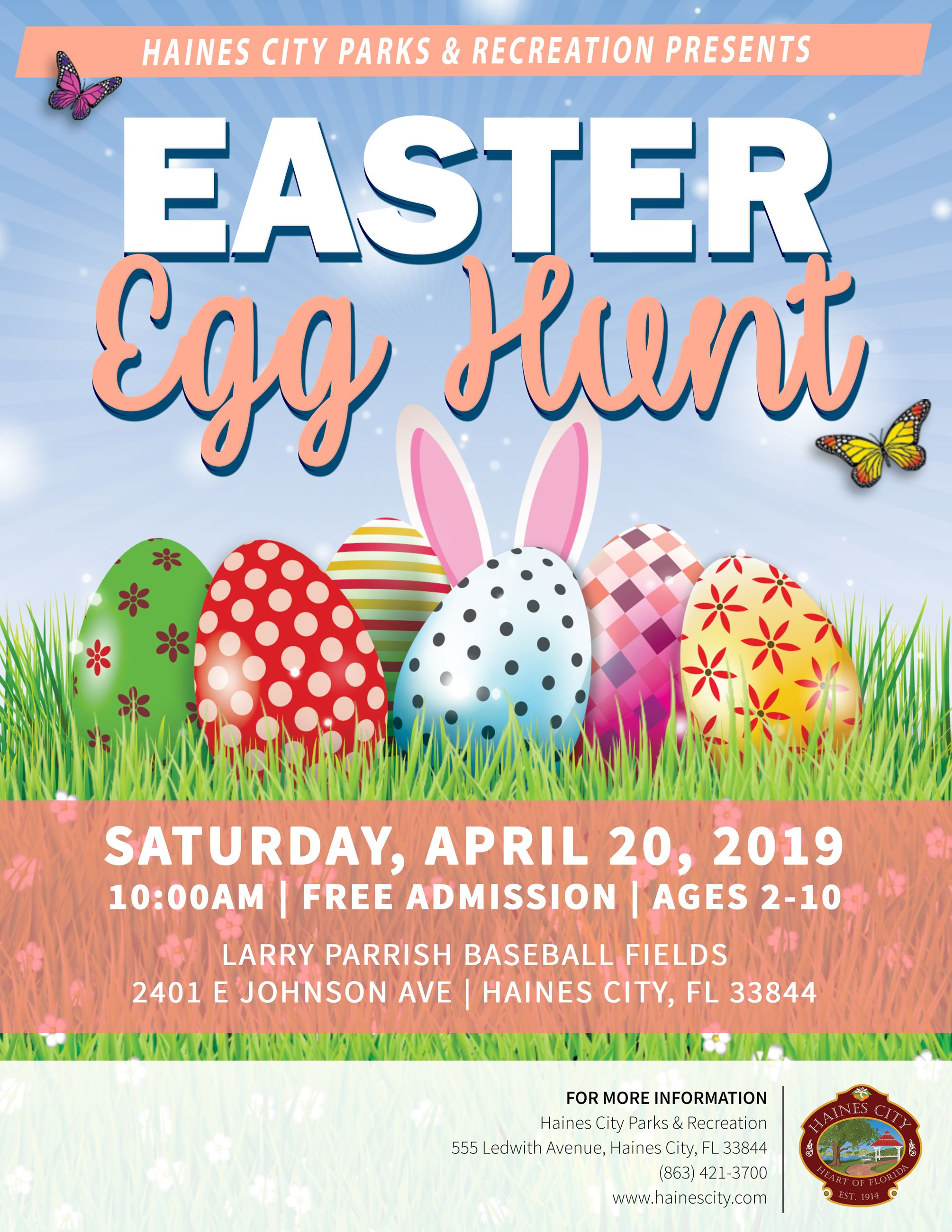 Easter Egg Hunt (flyer Image) - Easter Egg Hunt happening Saturday April 20, 2019.  Starts at 10 AM