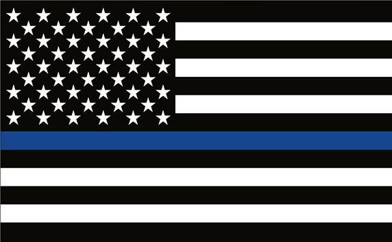 US Flag with Blue Line