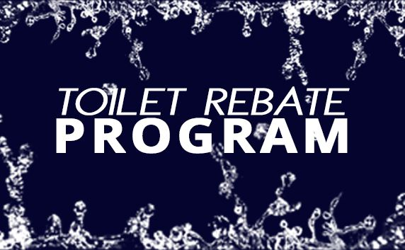 text toilet rebate program with water splashes in background